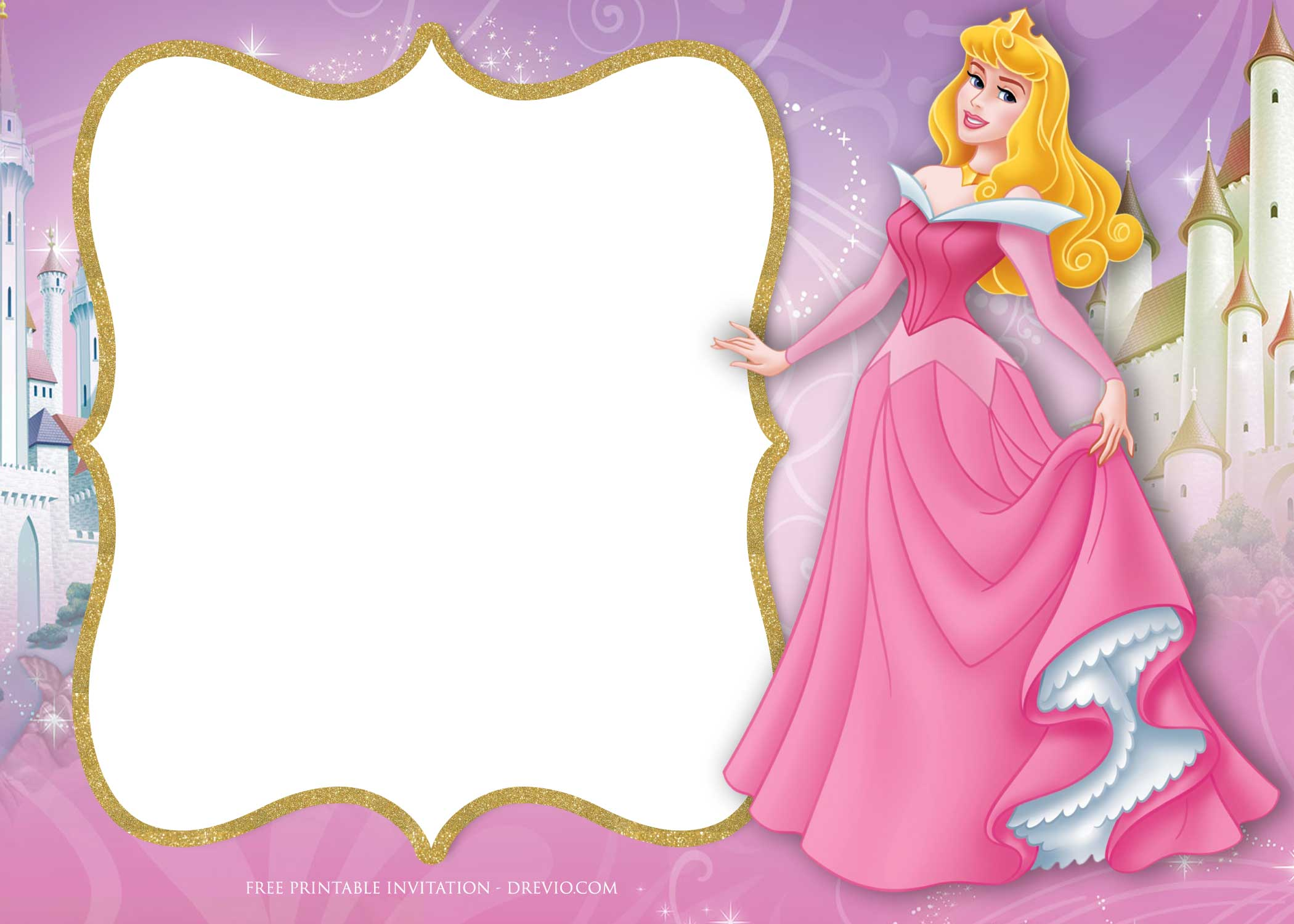Free Princess Aurora Birthday Invitation Template