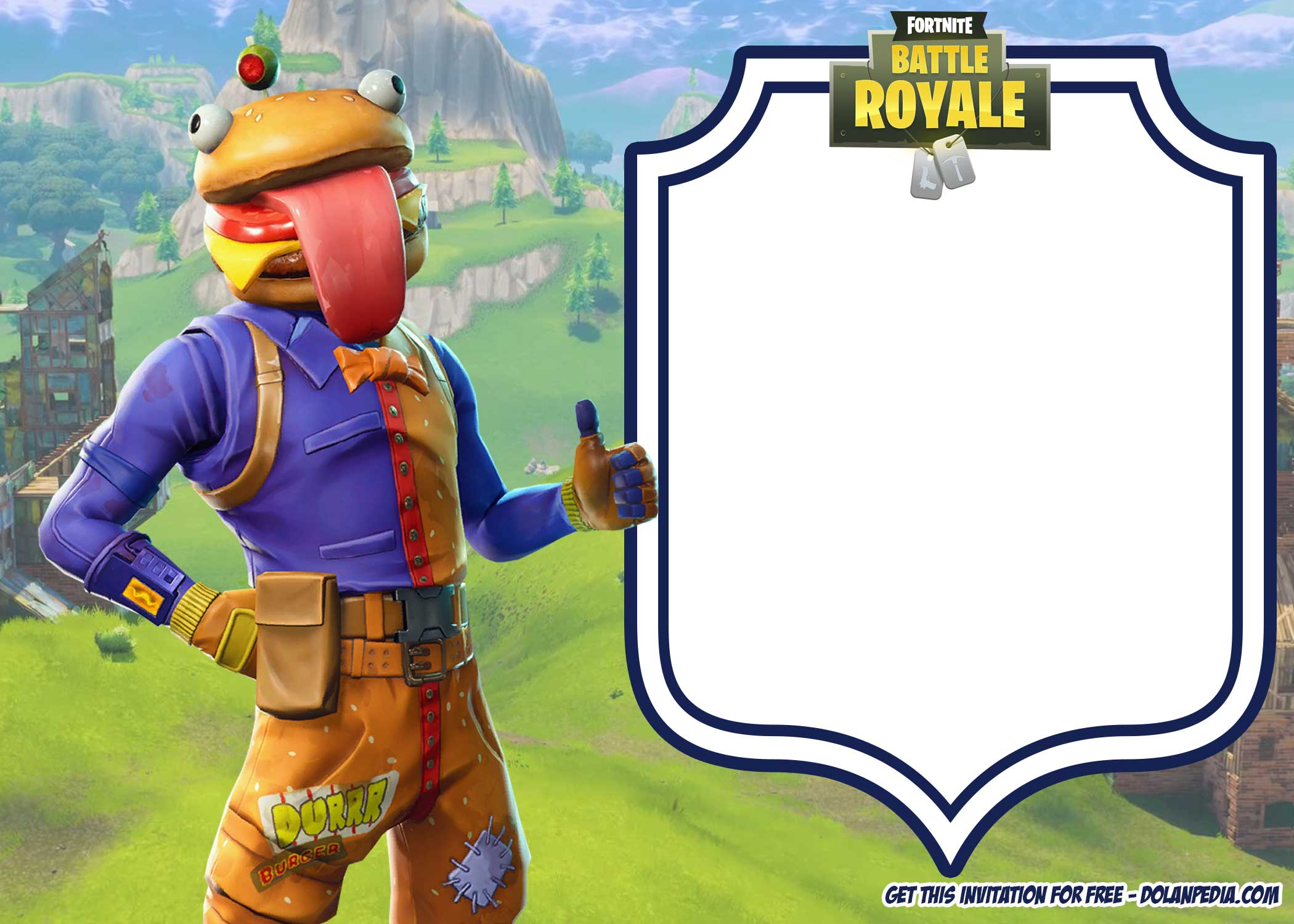 picture relating to Printable Fortnite titled 19+ No cost Printable Fortnite Game titles Invitation Templates