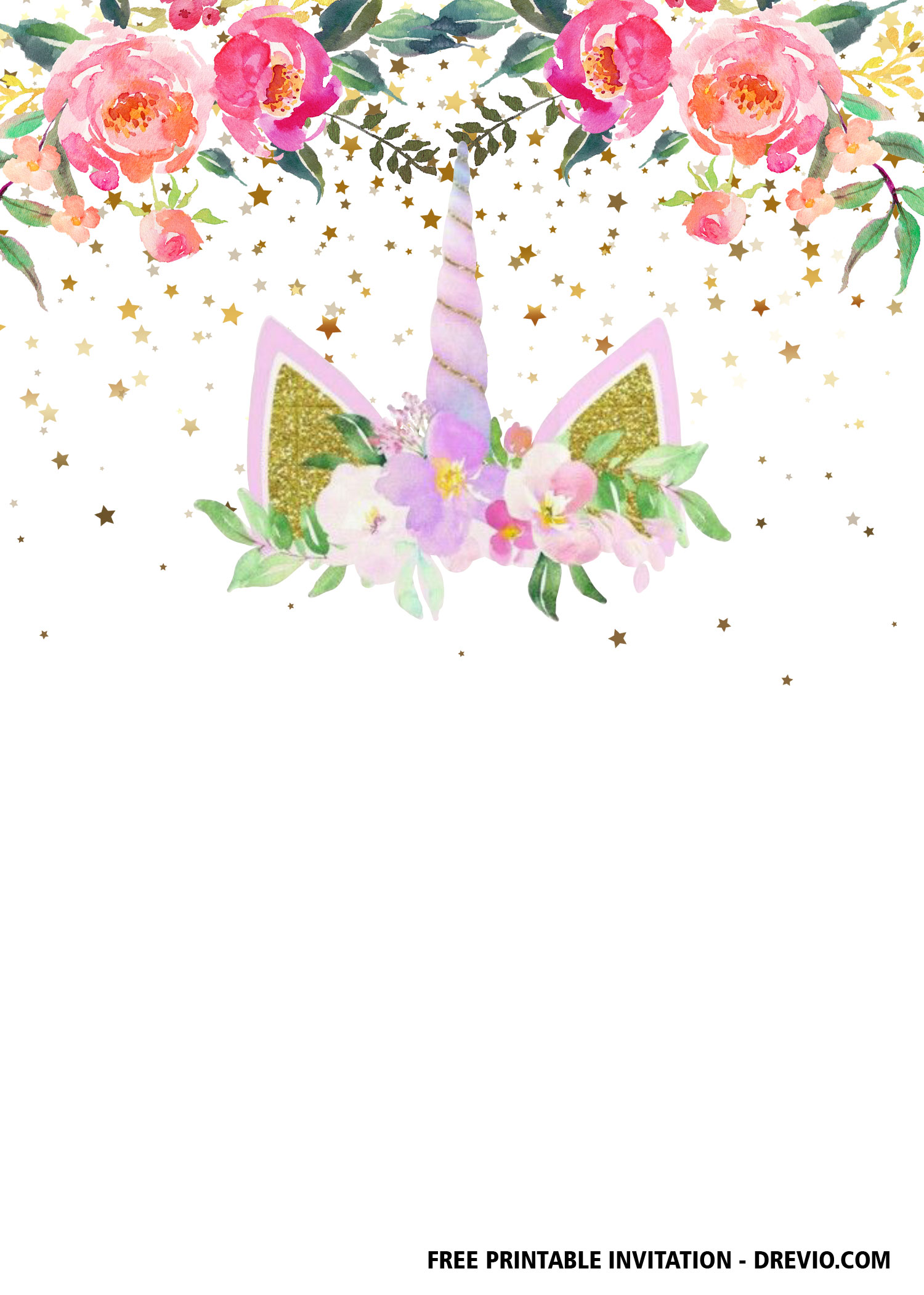 picture relating to Free Printable Unicorn Template titled Totally free Printable Unicorn Invitation Templates  DolanPedia