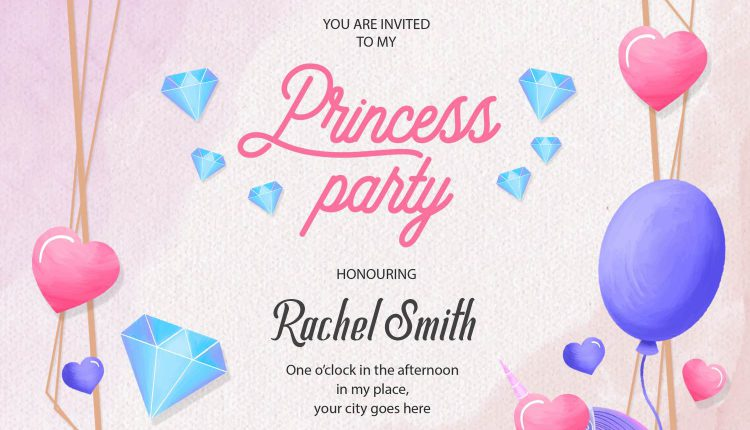 10+ Cute Pink Princess Party Birthday Invitation Templates